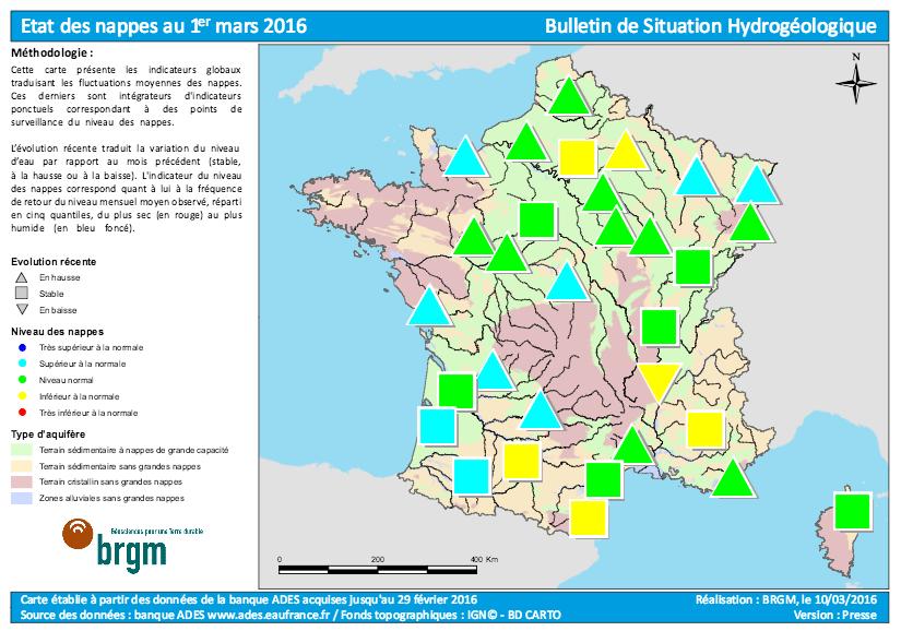 Nappes Hydrogéologiques en France au 1 Mars 2016
